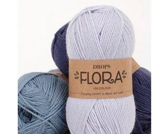 Yarn for knitting - Wool yarn - Yarn for blanket - Alpaca yarn - DROPS FLORA yarn - Thin yarn - Crochet yarn - Yarn for crocheting - Yellow