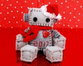 Limited Edition 2017 Mini Christmas Robot Ornament with a Red Santa Hat, Heart and Choice of Scarf, Geek Christmas Ornament