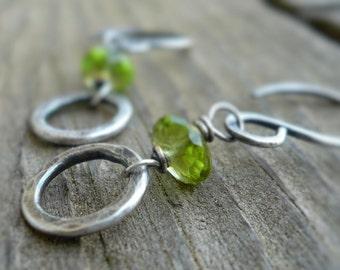 Kalediscope Earrings - Handmade with semiprecious gemstones, Oxidized, Hammered Sterling Silver