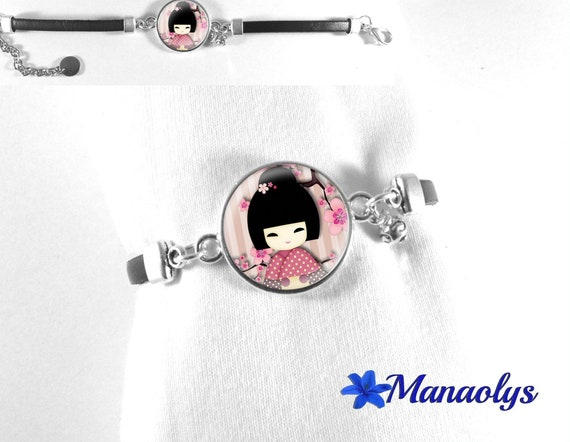 Bracelet leather black kokeshi 309 glass cabochon rose