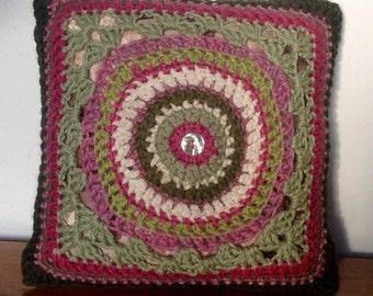 Crochet Mini Cushion. Decorative Crochet Pillow.