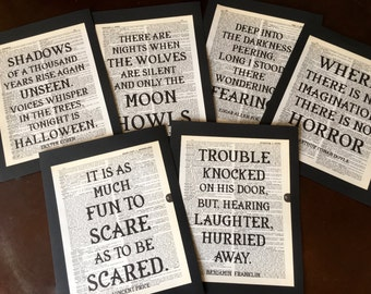 Halloween Party Horror Dictionary Art Quote Prints Halloween Decoration  Birthday Party Decoration Set Of 6