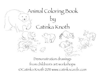 Animal Coloring Book pages cards pdf, polar bears, penguins, birds Catinka Knoth