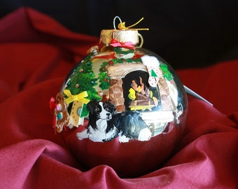 HAND PAINTED ORNAMENT - - Border Collie w/3d  Item164