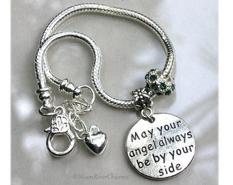 May Your Angel Always Be By Your Side Bracelet Personalize Birthstone Crystal Charm Custom Silver Angel Charm Bracelet Gift For #CBR1133