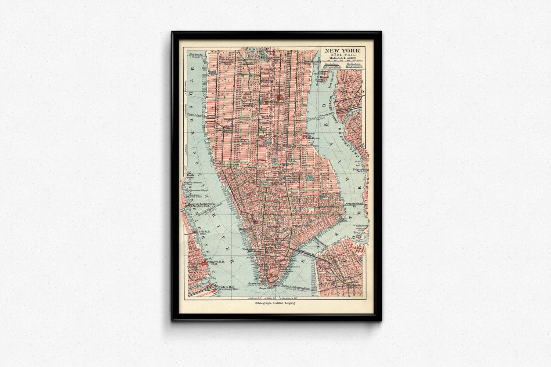 New York Manhattan-Karte. Vintage New York Karte. Vintage