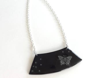 Butterfly black and silver chain bib necklace handmade silver