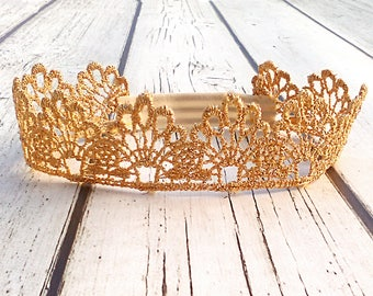 Baby Princess Crown, Christmas Headband, Toddler Crown, Gold Crown Headband, Lace Baby Crown, Baby Tiara, First Birthday Crown, Costume
