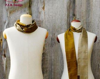 Silk scarf or silk-loop, scarf, tube scarf, loop, silk, silk, raw, olive-green champagne, greens-cream, two-color