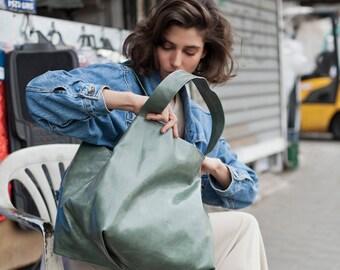 sage green bag - green leather bag - green leather purse - green leather tote bag - green tote bag - green leather shoulder bag - CLS2L