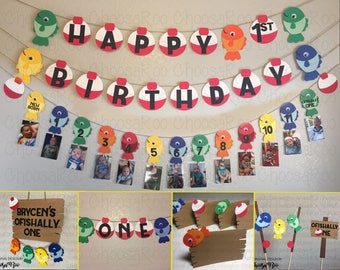 Fishing Party *OFISHALLY ONE* First Birthday Handmade Decorations Package! *Made to Order*