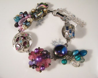 Bridesmaid Gift, Vintage Earring Bracelet, Upcycled, Silver, Turquoise, Purple, Colorful,Iridescent,Jennifer Jones, Under 40, OOAK - Electra