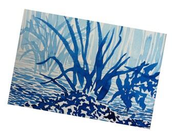 Blue landscape, original watercolor matted 8x10