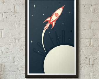 Retro Rocket Spaceship Art Print Boys Room Girls Room Decor Vintage 1950's Bold Minimal Graphic Poster