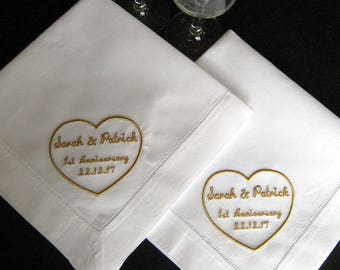 MONOGRAMMED DINNER NAPKINS, Romantic Heart Design, Personalized Designs, Linen/Cotton Blend, Hemstitched, Set of Two in White or Ivory