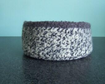 Extra Large Gray Ragg Felted Wool Bowl / Basket