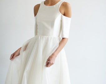 ivory wedding gown with off shoulder sleeve, wedding dress, bridal gown, wedding wear, wedding, hand made wedding dress