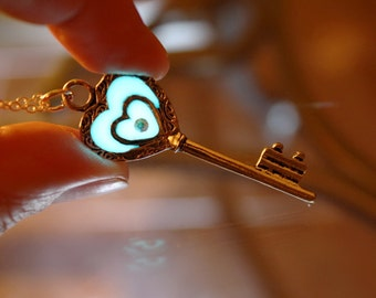 Key Necklace / KEY of my heart /  GLOW in the DARK / Key Pendant / Key Heart /