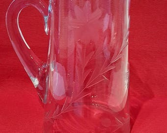 Butterfly Etched Clear Glass Pitcher