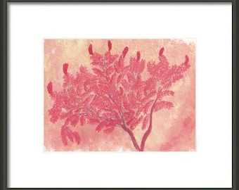 Father's Day Gift Idea Instant Print Download 5x7 Print from Watercolor Painting Autumn Red Sumac for matting and framing