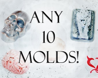 Set of molds, 10 molds, chocolate mold, soap mold, plaster mold, handgum mold, plaster moulds, soap moulds, set molds, goth mold
