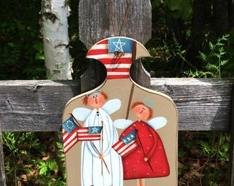 primitive angel, 4th of July decor, primitive home decor, gift mom gift, summer decor, American flag, best selling items, liberty,