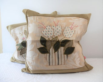 Pair of cushion covers Damascus vivid flowers, precious cushion, cushion in Damascus, gift for her