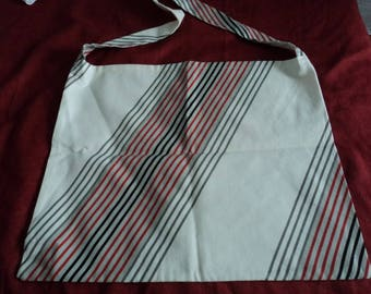 Gray, black and red striped ecru cotton beach bag