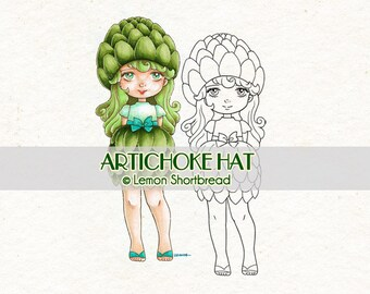 Digital Stamp Artichoke Hat Girl, Autumn Fall, Digi Download, Fantasy Fairy, Coloring Page, Clip Art, Scrapbooking Supplies, Graphic