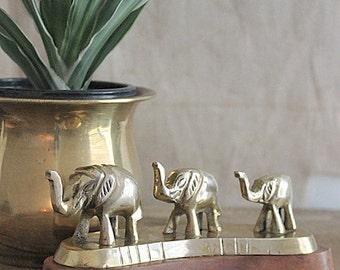 Vintage Trio of brass elephants
