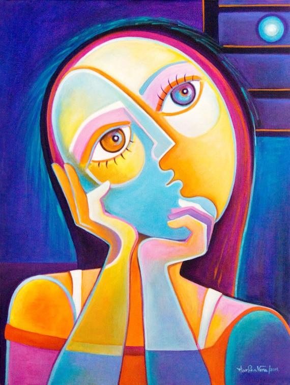 Original Painting Cubist Abstract Art Acrylic canvas Marlina  Original Painti...