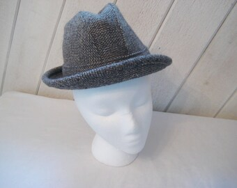 Vintage wool gray tweed mens hat, fedora hat, thinsulate ear warmers covers, Minnesota hat, Made in USA, small, boy's hat, 1219