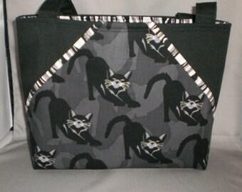 Fabric Tote Bag - Purse -Pocket Tote - Sassy Pockets - Cats - Black and Silver