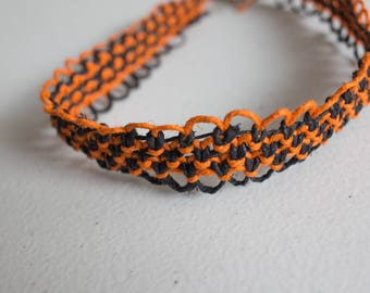 16 inch orange and black hemp necklace