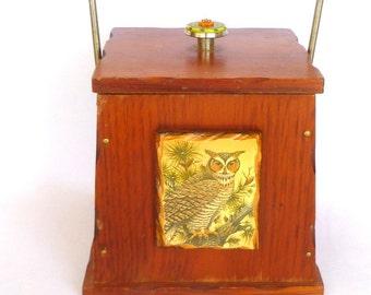 Retro CABIN ICE BUCKET/ Upcycled owl kitsch