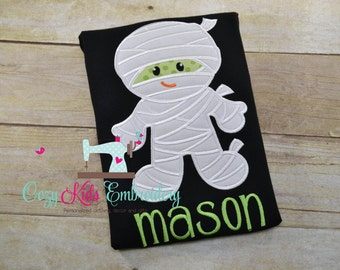 Halloween Fall Mummy shirt boy girl kid child toddler infant baby custom personalized mongram embroidered applique name