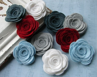 Wool Felt Flowers -  Large Posies - Winter Berry Collection - The Original Wool Felt Posies