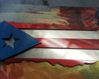 "Puerto Rican metal art flag cut to look like Puerto Rico. Made with 3 layers. Made from high quality aluminum. 21"" wide. Can make larger."