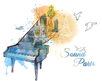 Piano Paris City Country Travel Illustration Poster Art Print T124