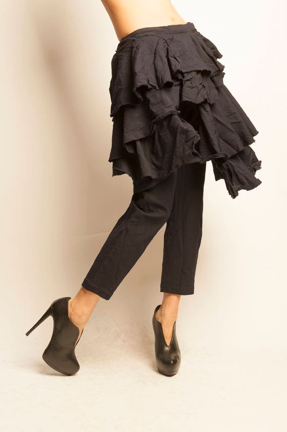 Comme des Garçons navy wrapped frilled skirt pants