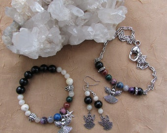 Gemstone Angel Jewelry - Chakra Balance Crystal Bead Jewelry Set