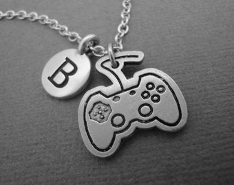 Video Game Controller Necklace, Video Game Control Keychain Keyring, Gift for Gamer Player Nerd, Video Game Control Device Bangle Bracelet
