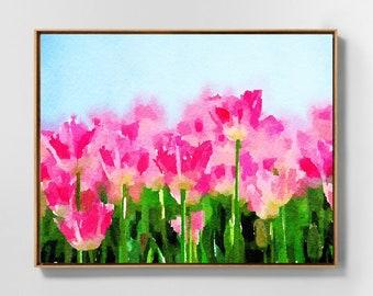 Impressionist landscape flowers, tulips wall art, floral art print, pink tulips