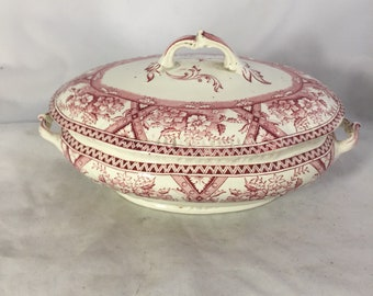 Transfer Ware Covered Vegetable Dish In Cranberry/Red And White
