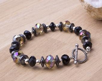 Hematite sparkle bracelet - dark rainbow crystal bracelet   Hematite jewellery   Bling bracelet   Gemstone jewelry   Black twinkle bracelet