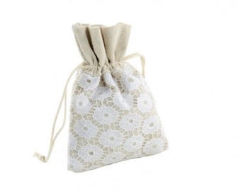 Party Favor Bags Lace and Cotton Jewelry Pouch 10 pcs