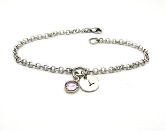 Initial Charm Bracelet Birthstone Initial Bracelet