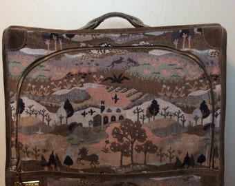Vintage 1970s The French Luggage Company Tapestry Suitcase with Village Scene Louis Vuitton