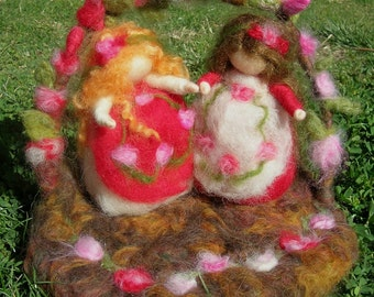 Made to order - Snow White and Rose Red with Woodland Garden & Bear- Needle felted wool play set- Waldorf Inspired..