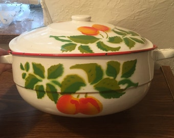 "Vintage Poland made enamelware pot casserole dish kitchen leaves 9"" diameter Cherries"